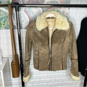 Express Brown Fur Genuine Leather Coat